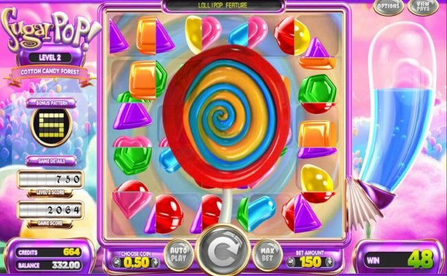 Oshi featuring the Video Slots Sugar Pop! with a maximum payout of N/A