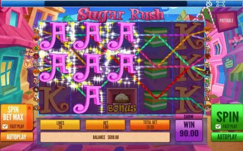 Win Paradise featuring the Video Slots Sugar Rush with a maximum payout of $45,000