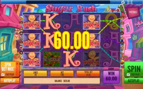 Sugar Rush :: Another big win triggered by wilds and multiple winning paylines