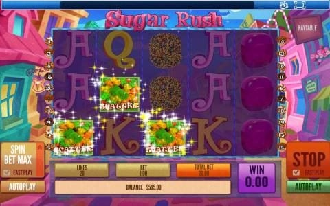 Sugar Rush :: Three scatter symbols triggers the free spins feature