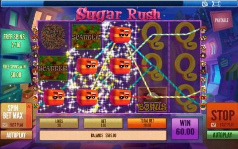 Mayflower featuring the Video Slots Sugar Rush with a maximum payout of $45,000