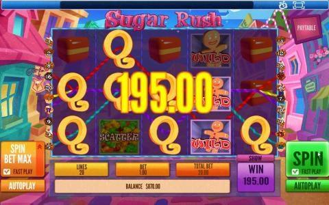 Sugar Rush :: Multiple winning paylines triggers a 195.00 big win!