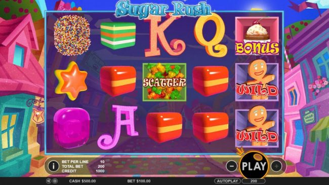 Sugar Rush :: Main game board featuring five reels and 20 paylines with a $45,000 max payout