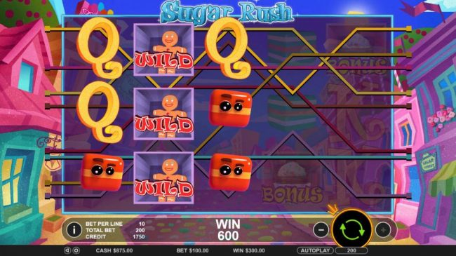 Sugar Rush :: Multiple winning paylines triggers a 600 coin big win!