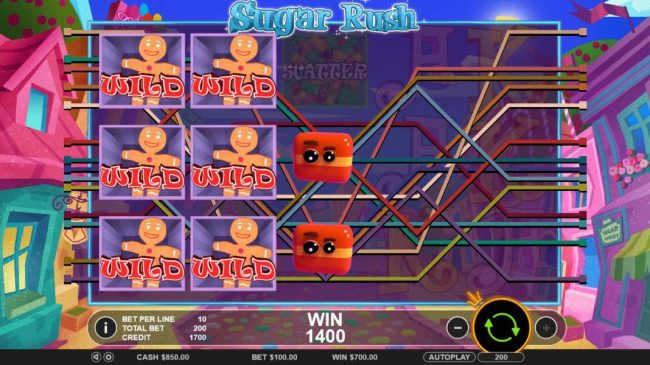 Crystal Casino Club featuring the Video Slots Sugar Rush with a maximum payout of $45,000