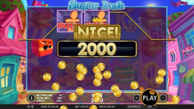Sugar Rush :: Satcked wilds on reels 2 and 3 leads to a 2000 coin jackpot payout.