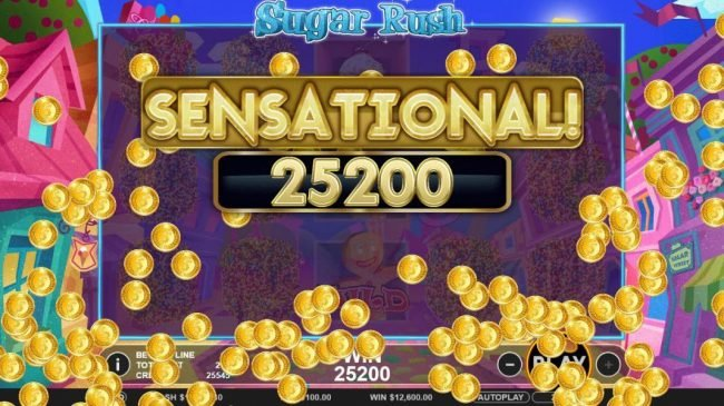 Sugar Rush :: A 25,200 coin sensational payout triggered by multiple winning paylines.