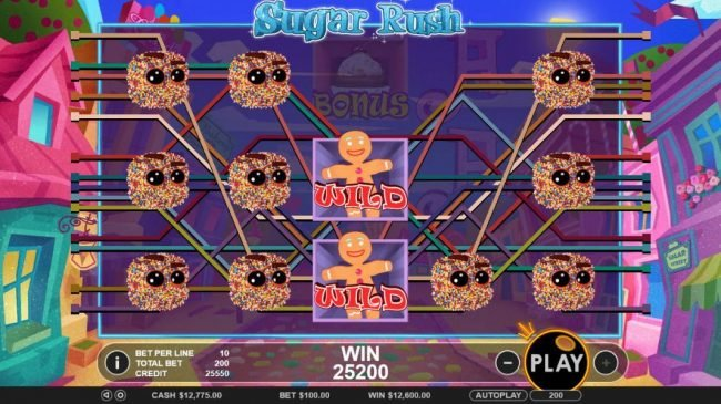 Slots Village featuring the Video Slots Sugar Rush with a maximum payout of $45,000