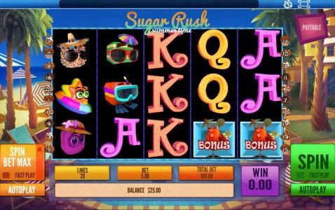 Astralbet featuring the Video Slots Sugar Rush Summer Time with a maximum payout of $45,000