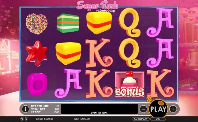 Play slots at Tangiers: Tangiers featuring the Video Slots Sugar Rush Valentine's Day with a maximum payout of $45,000
