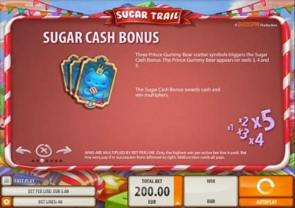 Guts featuring the Video Slots Sugar Trail with a maximum payout of $100,000
