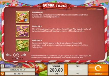 Casimba featuring the Video Slots Sugar Trail with a maximum payout of $100,000