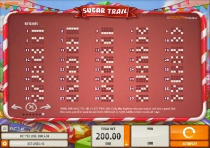 Norskespill featuring the Video Slots Sugar Trail with a maximum payout of $100,000