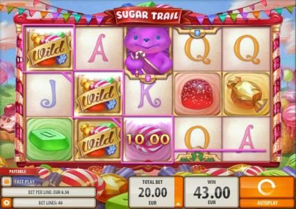 Play slots at Casumo: Casumo featuring the Video Slots Sugar Trail with a maximum payout of $100,000