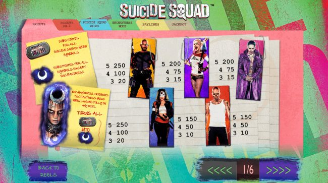 Slots Heaven featuring the Video Slots Suicide Squad with a maximum payout of $12,500