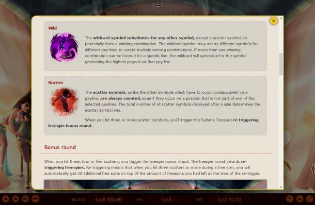 Sultan's Treasure :: Wild and Scatter Symbol Rules