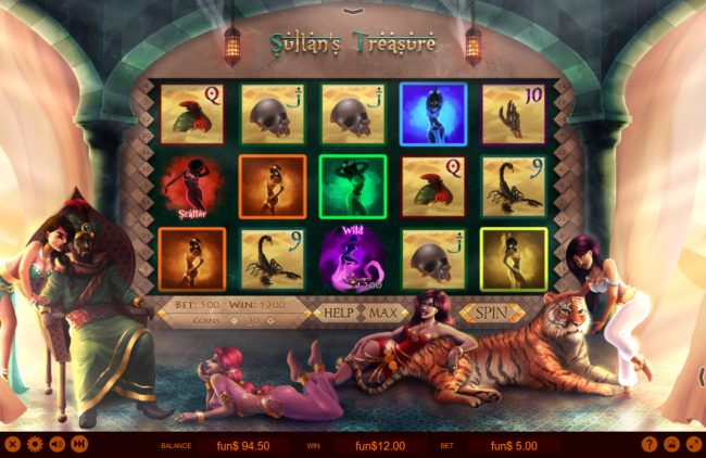 3Dice featuring the Video Slots Sultan's Treasure with a maximum payout of $10,000