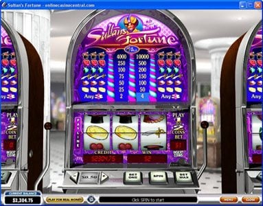 Vegas Red featuring the video-Slots Sultan's Fortune with a maximum payout of $100,000
