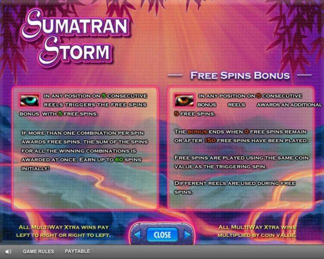 Sumatran Storm :: Free Spins Bonus Rules