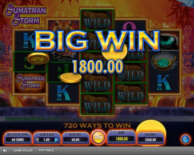 An 1800.00 Big Win triggered.