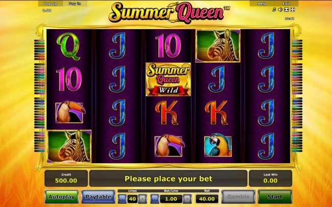 Summer Queen :: A nature themed main game board featuring five reels and 40 paylines with a $40,000 max payout