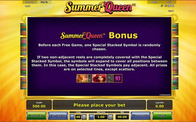 Summer Queen :: Summer Queen Bonus - Before each free game, one special stacked symbol is randomly chosen.