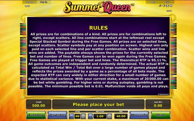 Summer Queen :: General Game Rules - The theoretical average return to player (RTP) is 95.11%.