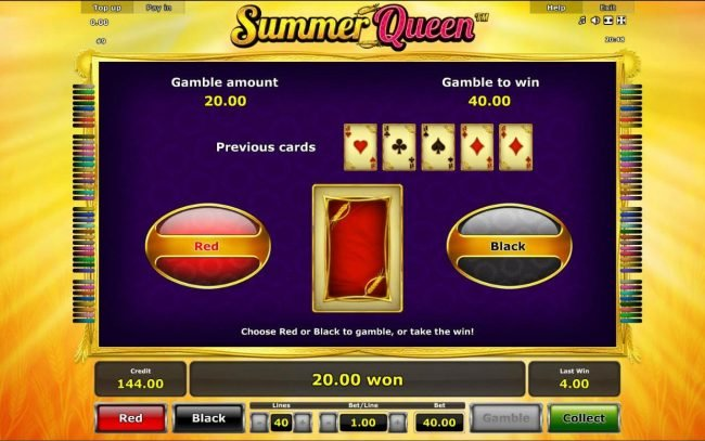 Summer Queen :: Gamble Feature - To gamble any win press Gamble then select Red or Black.