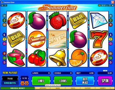 Casino Mate featuring the Video Slots Summertime with a maximum payout of $50,000