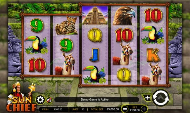 Sun Chief :: Main game board featuring five reels and 30 paylines with a $300,000 max payout.