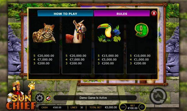 Sun Chief :: Medium Value Slot Game  Symbols Paytable.
