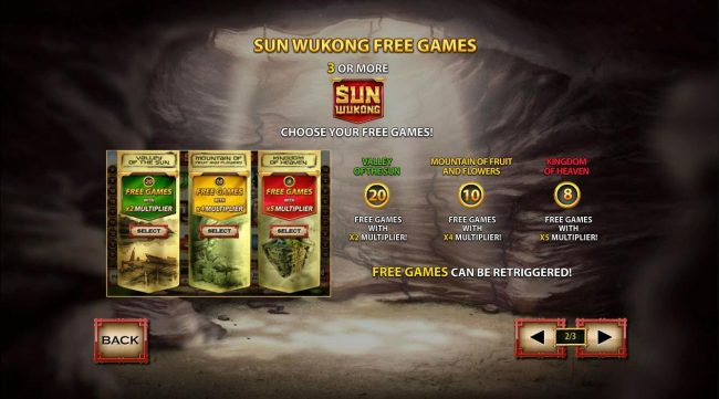 Three or more Sun Wukong logos triggers the Free Games feture - Choose from three different free games features to play.