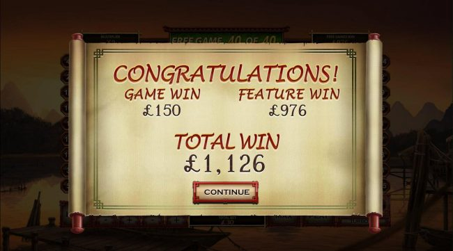 Free Games feature awards a total win of 1,126.00