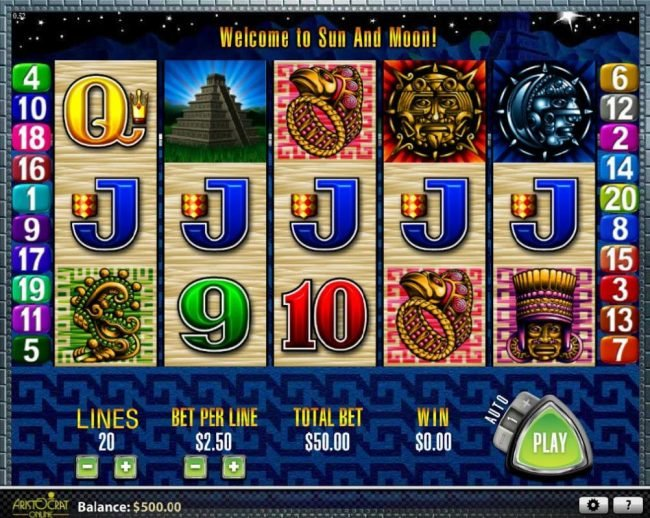 VIP Casino featuring the Video Slots Sun & Moon with a maximum payout of $2,500