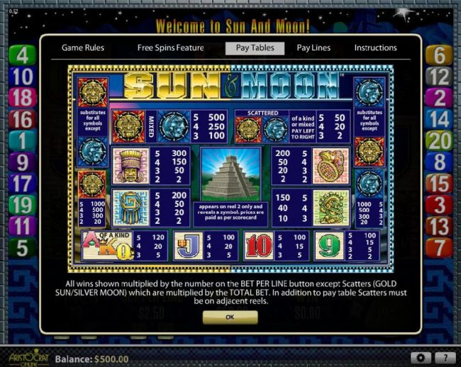 365 Bet Bit featuring the Video Slots Sun & Moon with a maximum payout of $2,500