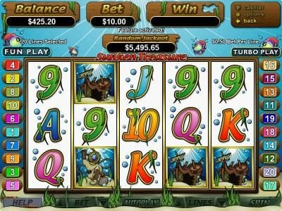 Mighty Slots featuring the Video Slots Sunken Treasure with a maximum payout of $250,000