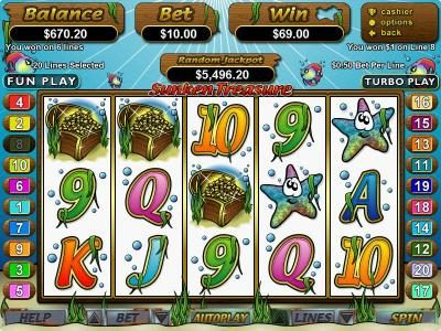 Grand Rush featuring the Video Slots Sunken Treasure with a maximum payout of $250,000