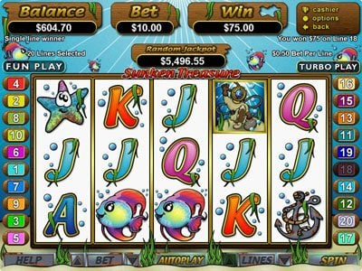 Slotastic featuring the Video Slots Sunken Treasure with a maximum payout of $250,000