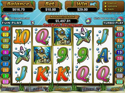 Club Player featuring the Video Slots Sunken Treasure with a maximum payout of $250,000