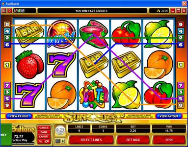 18 Bet featuring the Video Slots Sunquest with a maximum payout of $20,000