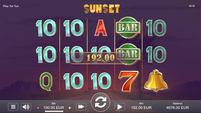 Sunset :: Multiple winning paylines