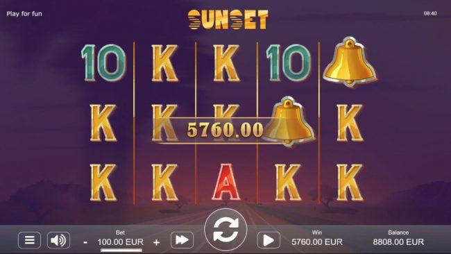 Sunset :: Multiple winning paylines triggers a big win