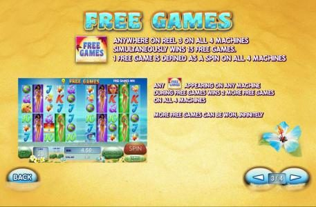 Free games symbol anywhere on reel 3 on all 4 machines simutaneously wins 15 free games