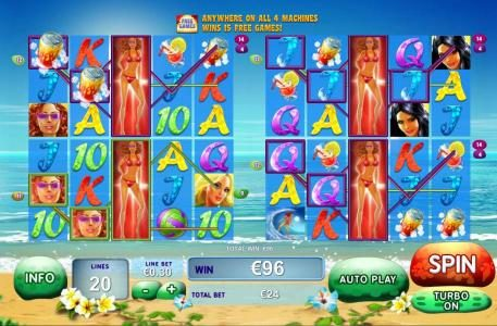 Multiple winning paylines triggered on all four machines