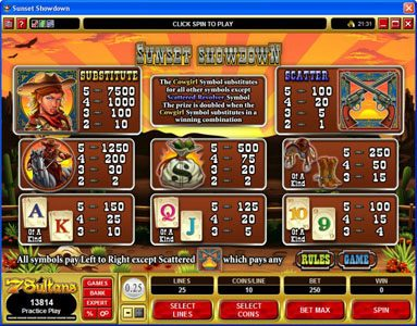 Casino Luck featuring the Video Slots Sunset Showdown with a maximum payout of $18,750