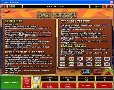 Play slots at Mummys Gold: Mummys Gold featuring the Video Slots Sunset Showdown with a maximum payout of $18,750