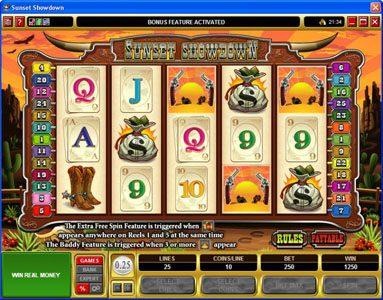 Spinland featuring the Video Slots Sunset Showdown with a maximum payout of $18,750