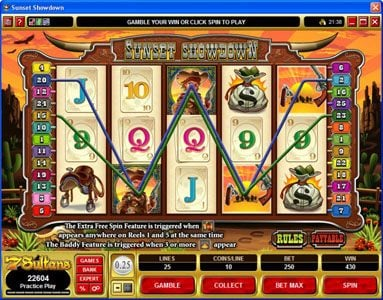 Grand Mondial featuring the Video Slots Sunset Showdown with a maximum payout of $18,750