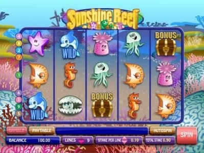 Captain Cooks featuring the Video Slots Sunshine Reef with a maximum payout of $50,000
