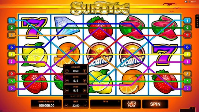 Lucky Nugget featuring the Video Slots SunTide with a maximum payout of $75,000